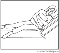 diagram showing how to get into bed after surgery