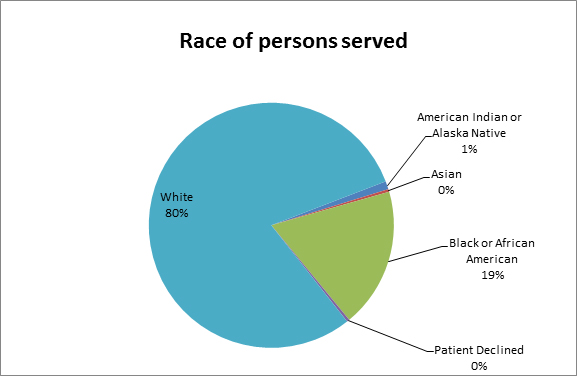 Race of persons served chart for Advanced Primary Care Clinic 2017
