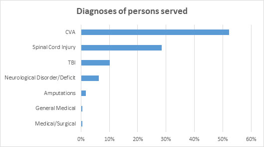 TRP diagnoses of persons served chart