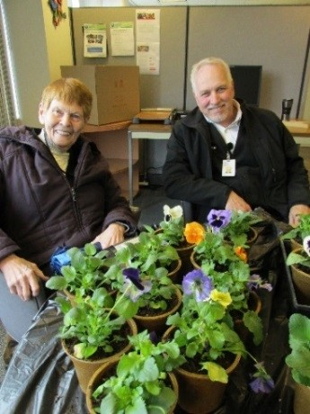 Volunteers with plants
