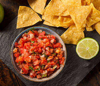 homemade pico de gallo salsa and chips