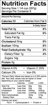 russian tea nutrition label