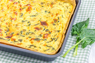 make mornings easy with this egg bake with cheese spinach arugula