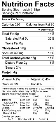 banana blueberry graham eclair nutrition label