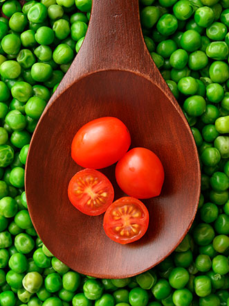 tomatoes and peas over pasta recipe