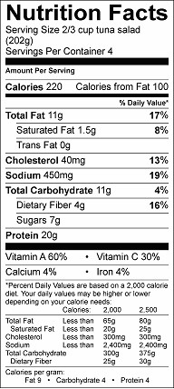 crunchy tuna salad nutrition label