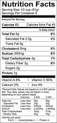 curry cauliflower salad nutrition label