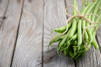 french bean on wooden background