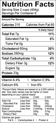 chicken hominy soup nutrition label