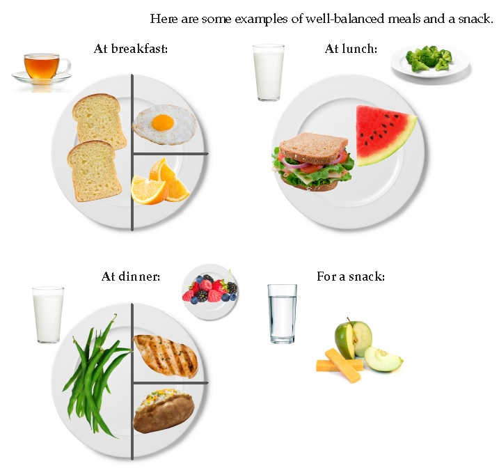 These plates show examples of well-balanced meals and snacks. For breakfast, two piece of toast, one egg, some orange slices and a cup of tea are shown. For lunch, a cup of milk; a turkey sandwich with cheese, lettuce, tomatoes, and onions; a slice of watermelon, and a small plate of broccoli. For dinner, a glass of milk, some string beans, a chicken breast, a baked potato, and a small plate of berries. For a snack, a glass of water, an apple, and some cheese.