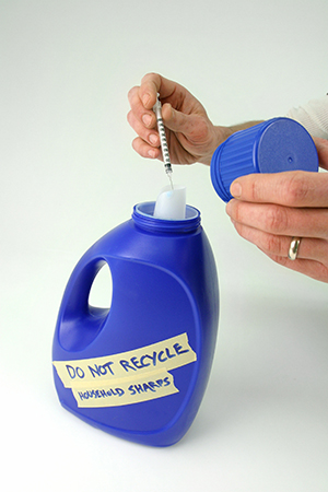 Homemade sharps disposal container