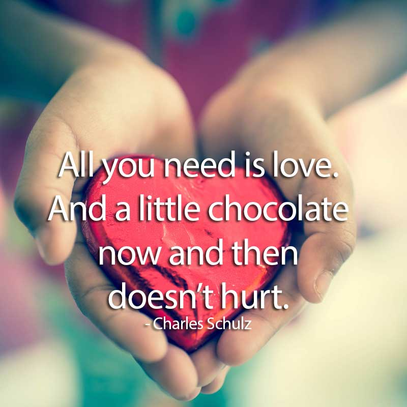 All you need is love. And a little chocolate now and then doesn't hurt. Charles Schulz