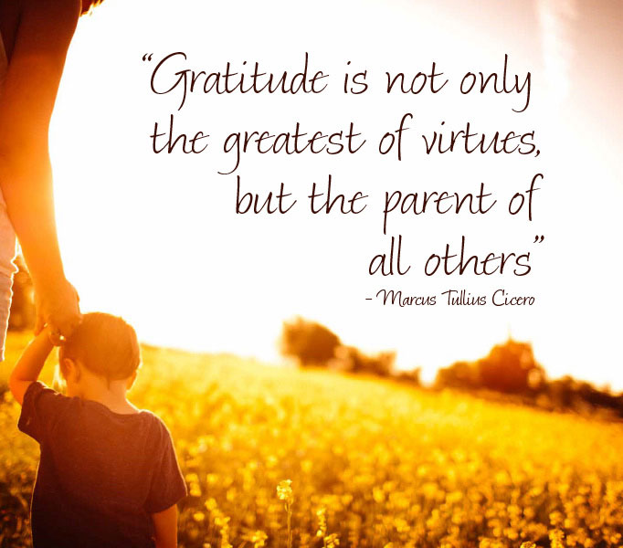 Gratitude is the greatest of virtues - photoquote