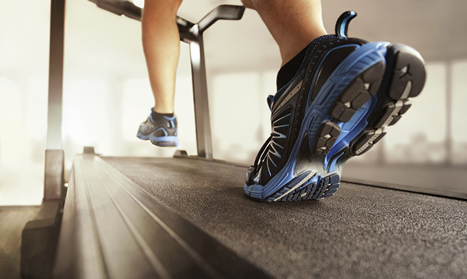 feet hitting treadmill, exercise and your brain
