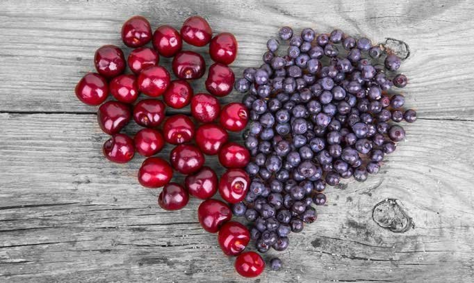 Cherries and blueberries make a healthy heart