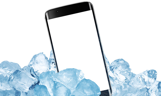 "smartphone on ice to represent the ""in case of emergency"" app, or I.C.E., used to save lives"