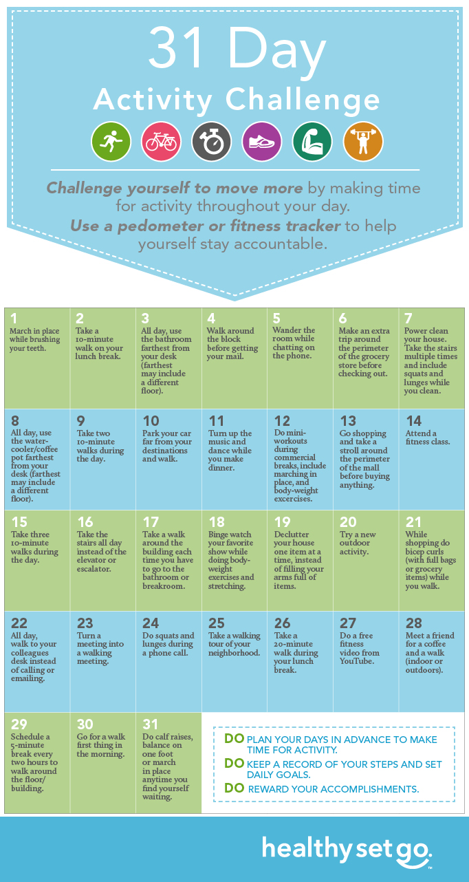 31 Day Activity Challenge infographic