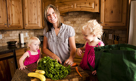 Mom and kids in kitchen