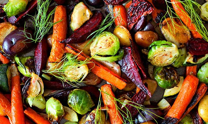 Assortment of colorful, roasted vegetables for healthy eating