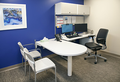 office desk with patient chairs