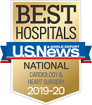 US News & World Report Best Hospitals badge for cardiology and heart surgery 2019-20