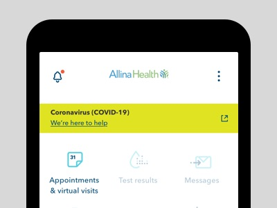 Appointments & virtual visit icon as shown on a mobile screen