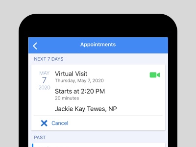 Appointment detail as shown on a mobile screen