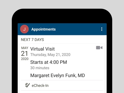 Virtual visit selected on iPhone