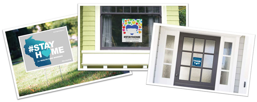 collage of some of the available stay at home products like window clings and yard signs