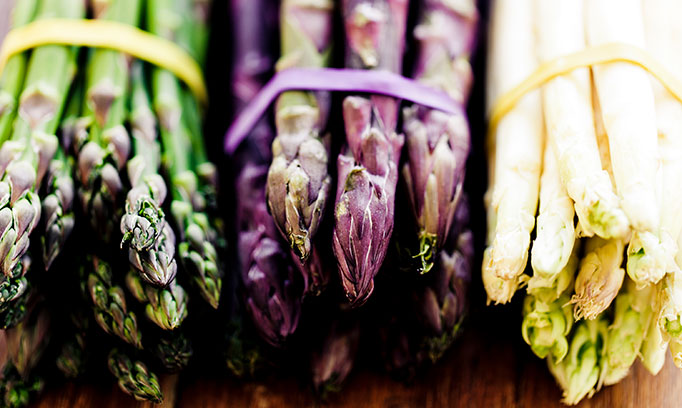asparagus bunches, green, purple and white, tips facing out