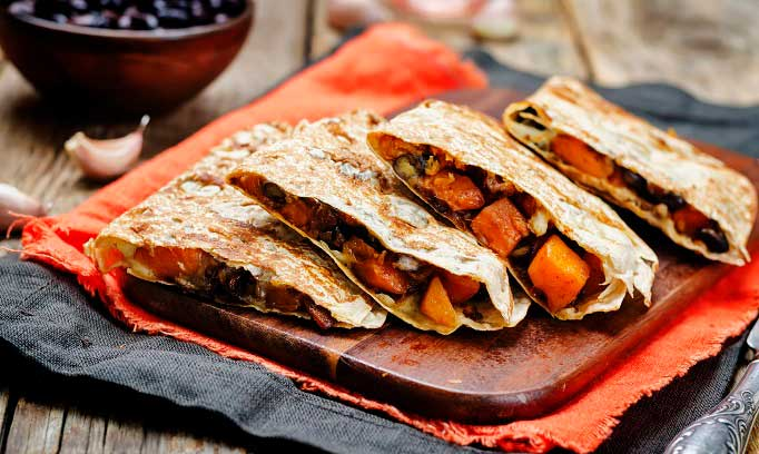 image of corn, black been and sweet potato quesadilla 682x408