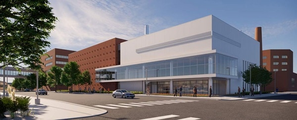 Architect's rendering of new central utility plant at Abbott Northwestern Hospital